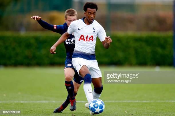 Mathias Kjolo of PSV U19 Brooklyn Lyons Foster of Tottenham Hotspur U19 during the match between Tottenham Hotspur U19 v PSV U19 at the Tottenham...