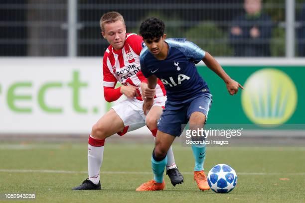 Mathias Kjolo of PSV U19 Dilan Markanday of Tottenham Hotspur U19 during the match between PSV U19 v Tottenham Hotspur U19 at the De Herdgang on...