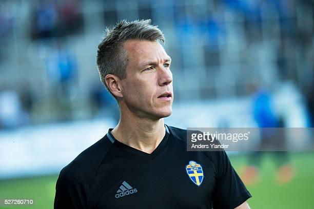 Mathias Klasenius assistans referee in action during the Allsvenskan match between IFK Norrkoping and Helsingborgs IF at Ostgotaporten on May 2 2016...