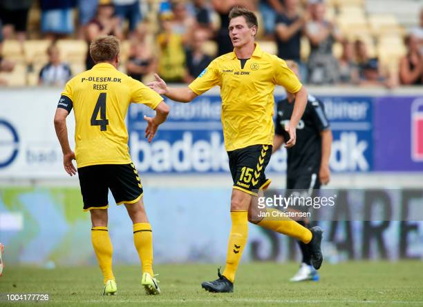 Mathias Kristensen of AC Horsens celebrate after penalty goal during the Danish Superliga match between AC Horsens and Randers FC at Casa Arena...