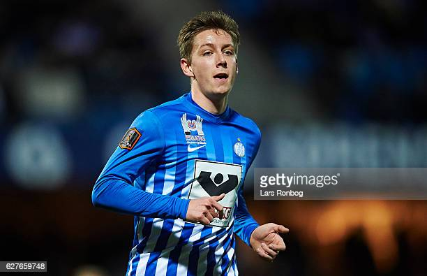 Mathias Kristensen of Esbjerg fB looks on during the Danish Alka Superliga match between Esbjerg fB and Brondby IF at Blue Water Arena on December 4...