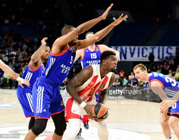Mathias Lessort #26 of Crvena Zvezda mts Belgrade in action during the 2017/2018 Turkish Airlines EuroLeague Regular Season Round 17 game between...