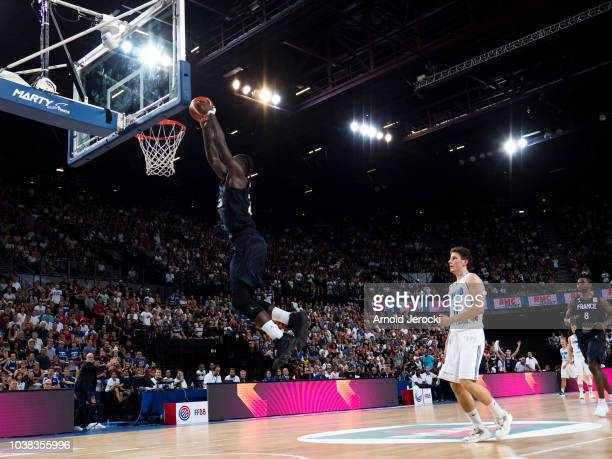 Mathias Lessort from France in action during the FIBA Basketball Wolrd cup 2019 qualifier match between France and Finland at the Sud de France Arena...