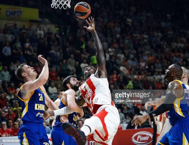 Mathias Lessort of Crvena Zvezda is challenged by Stefan Markovic of Khimki during the 2017/2018 Turkish Airlines EuroLeague Regular Season Round 18...