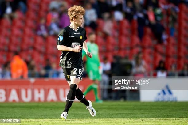 Mathias Madsen of AC Horsens in action during the Danish Alka Superliga match between FC Copenhagen and AC Horsens at Telia Parken Stadium on April...