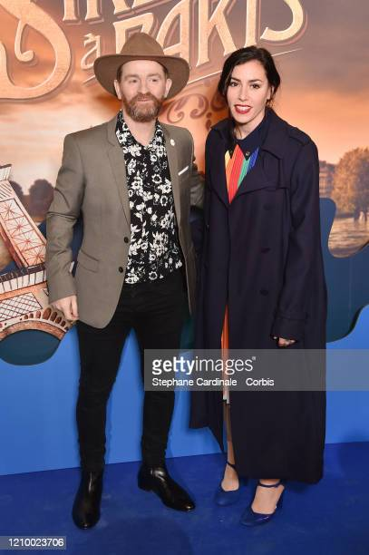 """Mathias Malzieu and Olivia Ruiz attend the """"Une Sirene A Paris"""" premiere at Cinema Max Linder on March 02, 2020 in Paris, France."""