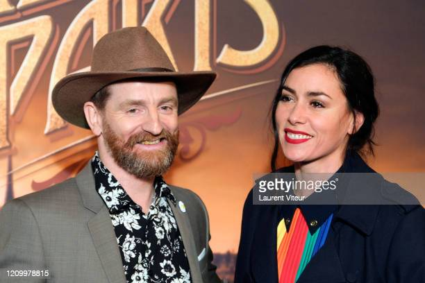 """Mathias Malzieu and Singer Olivia Ruiz attends the """"Une Sirene A Paris"""" premiere at Cinema Max Linder on March 02, 2020 in Paris, France."""