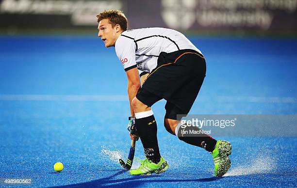 Mathias Muller of Germany controls the ball during the match between Germany and Netherlands on day one of The Hero Hockey League World Final at the...
