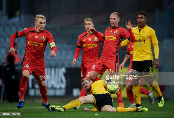 Mathias Nielsen of AC Horsens in action during the Danish Superliga match between AC Horsens and FC Nordsjalland at CASA Arena on October 27 2018 in...