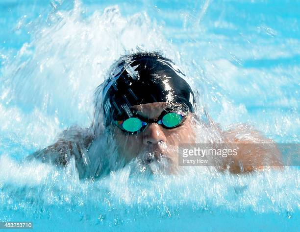 Mathias Oh swims in the Men's 200 Meter Butterfly Prelims during the 2014 Phillips 66 National Championships at the Woollett Aquatic Center on August...