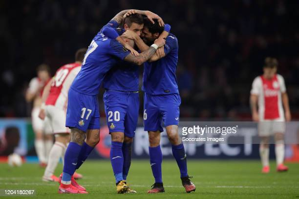 Mathias Olivera of Getafe, Nemanja Maksimovic of Getafe, Xabier Etxeitia of Getafe celebrates the victory during the UEFA Europa League match between...