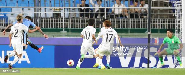 Mathias Olivera scores the second goal of Uruguay's 20 win against Japan in a groupstage match of the Under20 World Cup in Suwon South Korea on May...