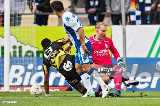 Mathias Ranegie of BK Hacken crashes into Pontus Dahlberg goalkeeper of IFK Goteborg during the Allsvenskan match between IFK Goteborg and BK Hacken...