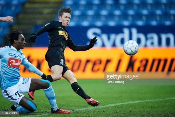 Mathias Rasmussen of FC Nordsjælland scores the 10 goal during the Danish Alka Superliga match between Sonderjyske and FC Nordsjalland at Sydbank...