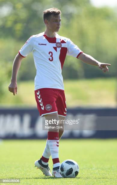 Mathias Ross Jensen of Denmark in action during the UEFA European Under17 Championship match between Republic of Ireland and Denmark at St Georges...