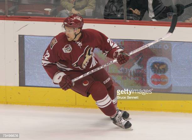 Mathias Tjarnqvist of the Phoenix Coyotes skates against the Columbus Blue Jackets during their NHL game on March 3 2007 at the Jobingcom Arena in...