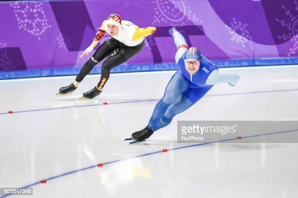 Mathias Voste of Belgium and Henrik Fagerli Rukke of Norway competing in 1000 meter speedskating at winter olympics Gangneung South Korea on...