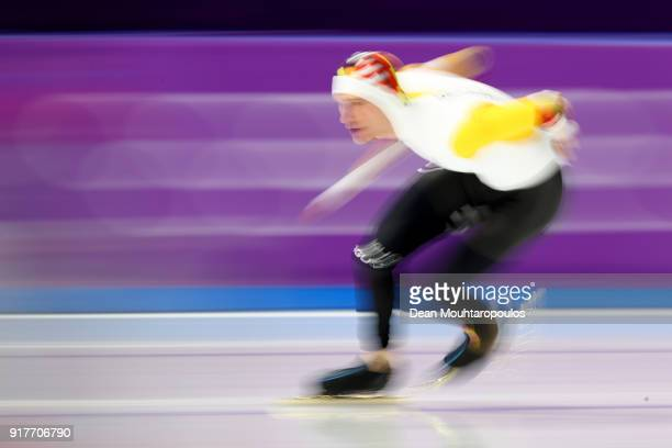Mathias Voste of Belgium competes during the Men's 1500m Speed Skating on day four of the PyeongChang 2018 Winter Olympic Games at Gangneung Oval on...