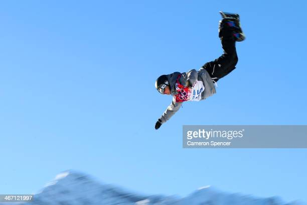 Mathias Weissenbacher of Austria competes in the Men's Slopestyle Qualification during the Sochi 2014 Winter Olympics at Rosa Khutor Extreme Park on...