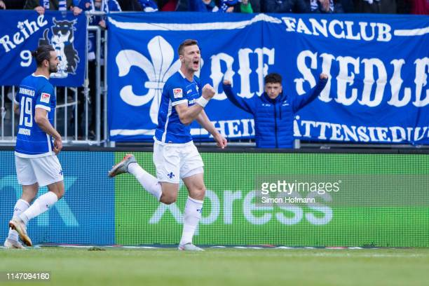 Mathias Wittek of Darmstadt celebrates his team's second goal during the Second Bundesliga match between SV Darmstadt 98 and 1 FC Union Berlin at...