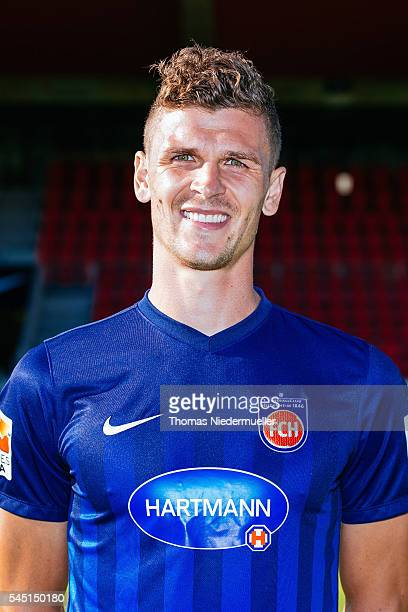 Mathias Wittek poses during the 1FC Heidenheim team presentation at VoithArena on July 5 2016 in Heidenheim Germany