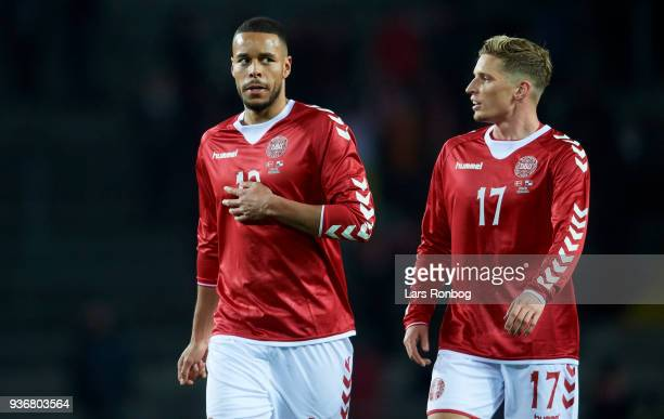 Mathias Zanka Jorgensen and Jens Stryger Larsen of Denmark during the International friendly match between Denmark and Panama at Brondby Stadion on...