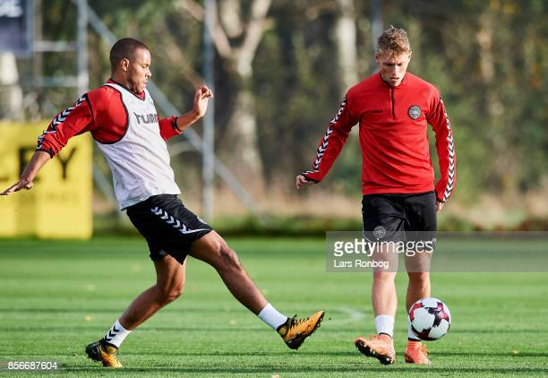 Mathias Zanka Jorgensen and Viktor Fischer compete for the ball during the Denmark training Session at Dragor Stadion on October 2 2017 in Dragor...