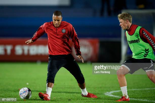 Mathias Zanka Jorgensen and Viktor Fischer in action during the Denmark training session at Helsingor Stadion on November 7 2017 in Helsingor Denmark