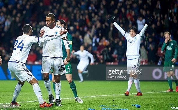 Mathias Zanka Jorgensen and Youssef Toutouh of FC Copenhagen celebrates after scoring their first goal during the Danish Alka Superliga match between...