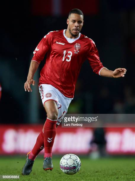 Mathias Zanka Jorgensen of Denmark controls the ball during the International friendly match between Denmark and Panama at Brondby Stadion on March...