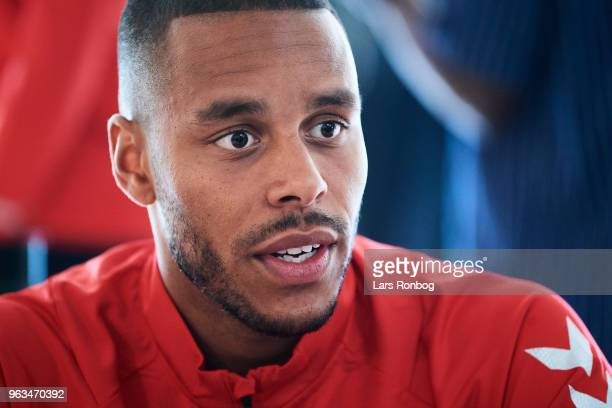 Mathias Zanka Jorgensen of Denmark on the press conference prior to the Denmark training session Helsingor Stadion on May 28 2018 in Helsingor Denmark