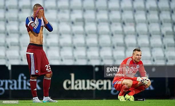 Mathias Zanka Jorgensen of FC Copenhagen and Goalkeeper Stephan Andersen of FC Copenhagen looks dejected after the Danish Alka Superliga match...
