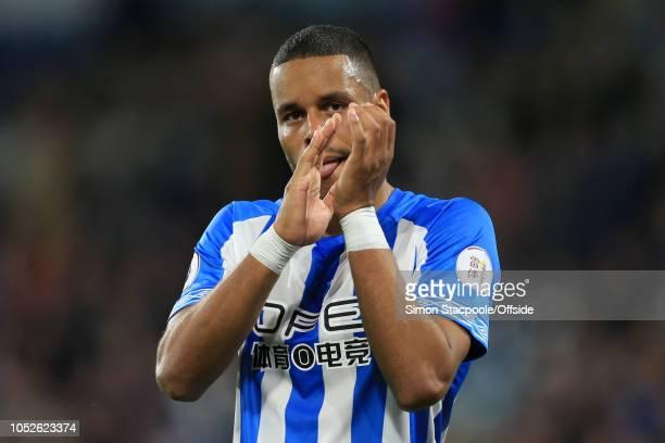 Mathias Zanka Jorgensen of Huddersfield applauds the support after the Premier League match between Huddersfield Town and Liverpool at the John...