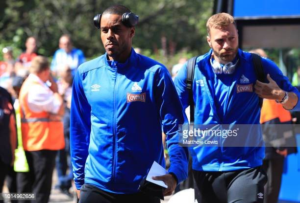Mathias Zanka Jorgensen of Huddersfield Town arrives at the stadium prior to the Premier League match between Huddersfield Town and Chelsea FC at...