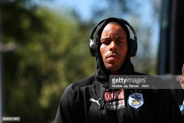 Mathias Zanka Jorgensen of Huddersfield Town arrives prior to the Premier League match between Huddersfield Town and Arsenal at John Smith's Stadium...
