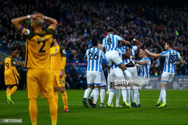 Mathias Zanka Jorgensen of Huddersfield Town celebrates after scoring a goal to make it 1-0 during the Premier League match between Huddersfield Town...