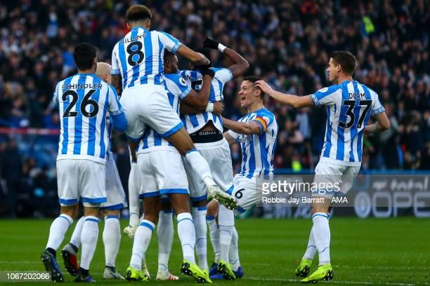 Mathias Zanka Jorgensen of Huddersfield Town celebrates after scoring a goal to make it 10 during the Premier League match between Huddersfield Town...