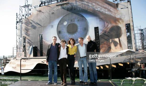Mathieu Amalric , Anatole Taubman , Olga Korylenko, Daniel Craig and director Marc Forster are seen on the sea stage in Bregenz on 06 May, 2008 in...