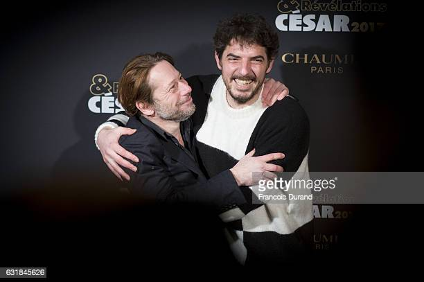 Mathieu Amalric and Damien Bonnard attend the Cesar Revelations 2017' Photocall at the Salon Chaumet on January 16 2017 in Paris France