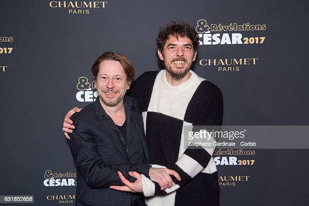Mathieu Amalric and Damien Bonnard attend the 'Cesar Revelations 2017' on January 16 2017 in Paris France