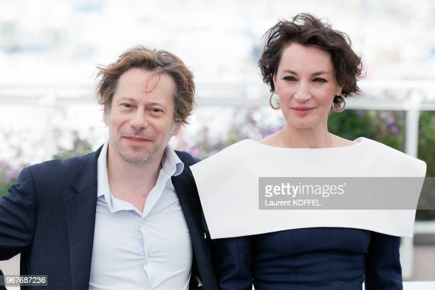 Mathieu Amalric and Jeanne Balibar attend 'Barbara' Photocall during the 70th annual Cannes Film Festival at Palais des Festivals on May 18 2017 in...