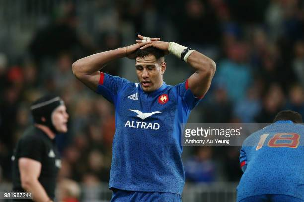 Mathieu Babillot of France reacts during the International Test match between the New Zealand All Blacks and France at Forsyth Barr Stadium on June...
