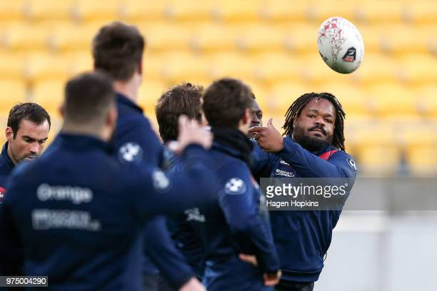 Mathieu Bastareaud in action during the France Captain's Run at Westpac Stadium on June 15 2018 in Wellington New Zealand