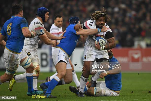 Mathieu Bastareaud of France charges at the Italian defence during the NatWest Six Nations match between France and Italy at Stade Velodrome on...