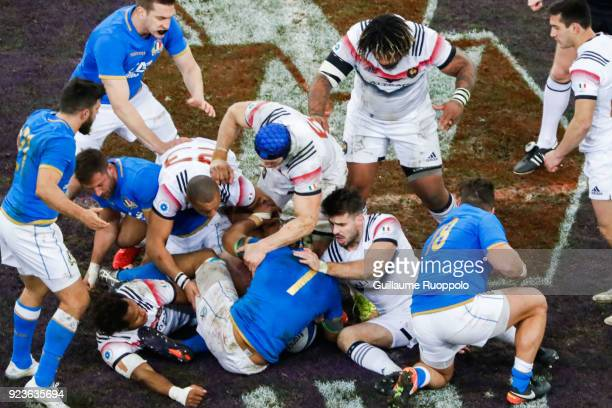 Mathieu Bastareaud of France during the NatWest Six Nations match between France and Italy at Stade Velodrome on February 23 2018 in Marseille France