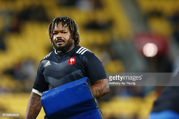 Mathieu Bastareaud of France during warmup prior to the International Test match between the New Zealand All Blacks and France at Westpac Stadium on...
