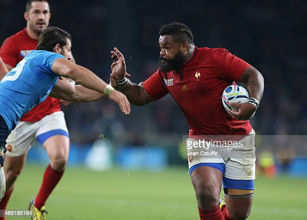 Mathieu Bastareaud of France in action during the Rugby World Cup 2015 match between France and Italy at Twickenham Stadium on September 19 2015 in...