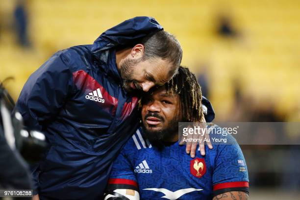 Mathieu Bastareaud of France is consoled after losing the International Test match between the New Zealand All Blacks and France at Westpac Stadium...