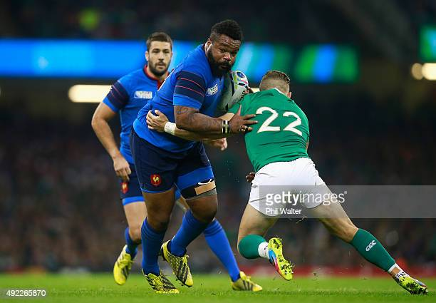 Mathieu Bastareaud of France is tackled by Ian Madigan of Ireland during the 2015 Rugby World Cup Pool D match between France and Ireland at...