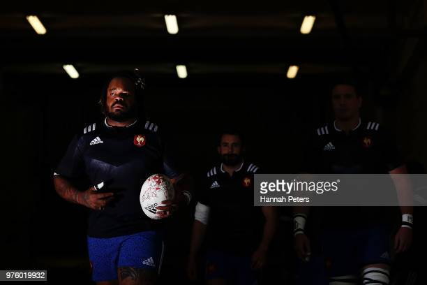 Mathieu Bastareaud of France leads the team out ahead of the International Test match between the New Zealand All Blacks and France at Westpac...